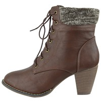 Womens Knitted Collar Ankle Boots Lace Up High Heel Booties Brown Size 5.5-10