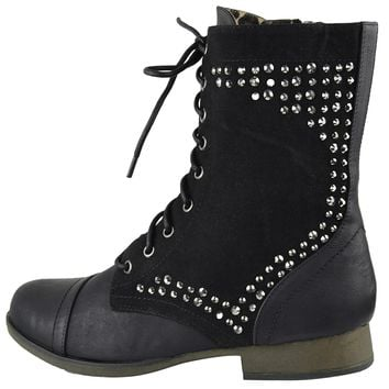 Womens Ankle Boots Rhinestone Studded Combat Lace Up Shoes Black Size 5.5-10
