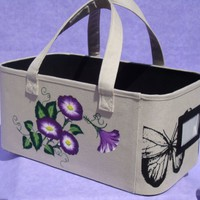 Storage Basket With Painted Purple Flowers and Butterflies