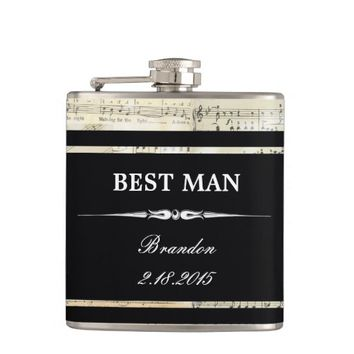 Vintage Music Black BEST MAN Wedding Flask