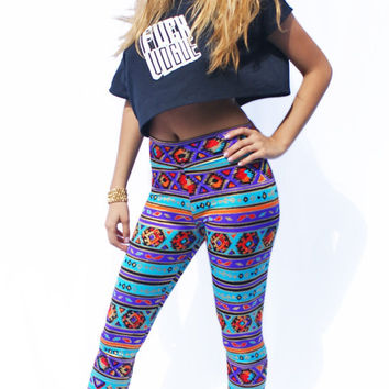 Tribal Print Leggings Shimmery Lycra by fashionmeme on Etsy