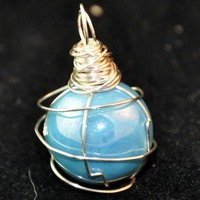 Sapphire Blue Pearla-decent Bead Wirewrapped Pendant | KeakiDesigns - Jewelry on ArtFire