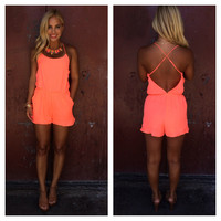 Coastline Romper With Pockets - NEON CORAL