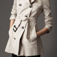 Burberry - SHORT COTTON BLEND HERITAGE TRENCH COAT