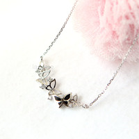 Black Butterfly Necklace in sterling silver / choose your color - gold and silver