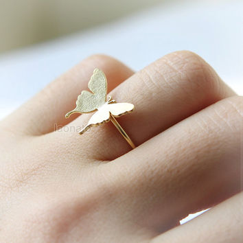 Swallowtail Butterfly Ring / adjustable ring/ choose your color, gold and silver