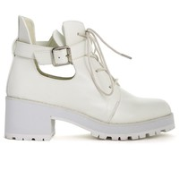 Willing White Buckle Chunck Lace-Up Boots