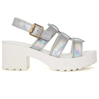 Holographic Silver Block-Heel Sandals