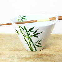 Hand Painted Ceramic Noodle Bowl With chopsticks by SylwiaGlassArt