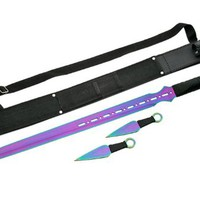 Szco Supplies Ninja Sword with Throwing Knives, Rainbow