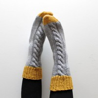 Knitted Bed Socks, 100% Merino Wool Mustard And Grey | Luulla