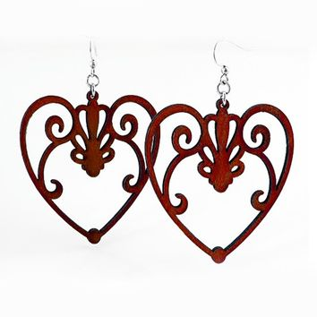 Scroll Heart Earrings by Green Tree Jewelry (Wine)