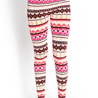FOREVER 21 Abstract Diamond Print Leggings Neon Coral/Pink