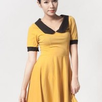 Yellow collared short sleeve dress