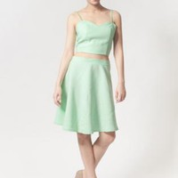 Mint skater skirt and crop top set