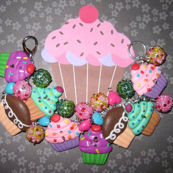 Cupcake Charm Bracelet Jewelry Sweet Bakery Shoppe Cake Chunky Fun Kawaii Cup Cake OOAK Handmade Loaded Statement Piece