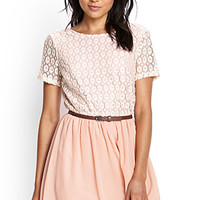 FOREVER 21 Belted Crotchet Combo Dress Cream/Peach