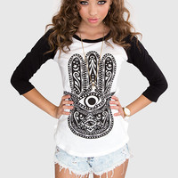 Hamsa Baseball Top - Black
