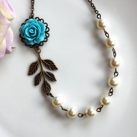 A Something Blue Rose Flower with Ivory Pearls by Marolsha on Etsy