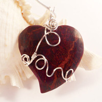 Wire Wrapped Pendant, Heart Necklace, Handmade Jewelry, Statement Jewelry, Red, Jasper