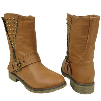 Women's Casual Side Spiked Zipper Combat Comfort Ankle Boots US Size 6-10 Tan