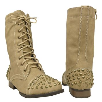 Women's Casual Spiked Toe and Heel Casual Comfort Combat Boots US Size 6-10 Tan