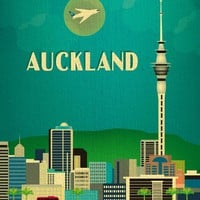 Auckland, New Zealand - Asian + Pacific Skyline Poster Print - 100% Recycled and Signed by the Artist (Canvas Print also Available)