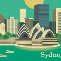 Sydney, Australia - Asian + Pacific Skyline Poster Print - 100% Recycled and Signed by the Artist (Canvas Print also Available)