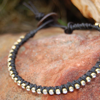 Clear Rhinestone Wrapped Black Leather by authenticaboutique