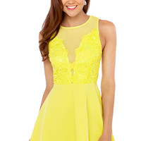 Crochet & Mesh Babydoll Dress in Lime