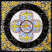 Balkis Design 16-tile Ceramic Mosaic Medallion