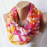 Pink and geometricInfinity Loop Scarf Chiffon by Periay on Etsy