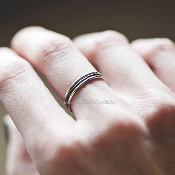 Size 6 , Sterling Silver, Handmade Jewelry, Three Sterling Silver Stacking Rings, Oxidized, Simple Rings, Ready To Ship!