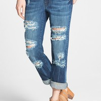 Volcom Destroyed Slouchy Boyfriend Jeans (Indigo) (Juniors)