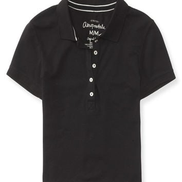 Solid Cropped Piqué Polo