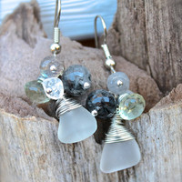Sea Glass Earrings - Beach Bride Jewelry from Hawaii - Seaglass & Gemstone Earrings - Beach Boho Jewelry - Hawaiian Jewelry - Gypsy Earrings