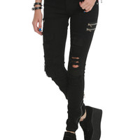 Tripp Black Patch Zipper Skinny Pants