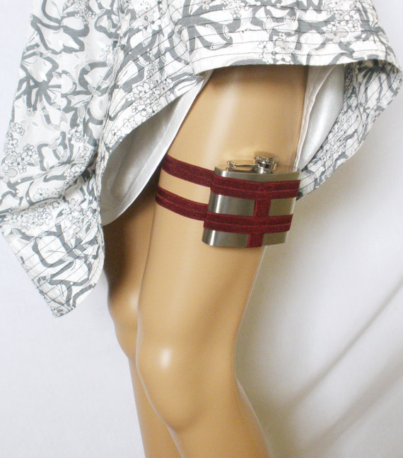 Flask Garter WITH Flask Carmine Red by GartersByLori on Etsy