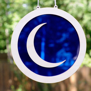 Crescent Moon Suncatcher and Hanging Wall Art in Lunar Bright Blue Acrylic and Wood