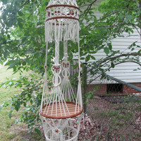 Vintage White Macrame Owl Planter, Hanging Shelf