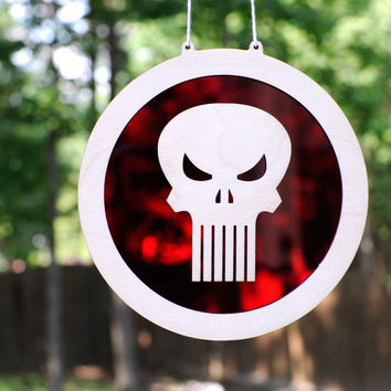 Punisher Skull Logo Suncatcher and Wall Art a Marvel Comic Book Hero