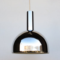 Shiny Chrome Vintage Pendant Lamp / 70's Ceiling Lamp