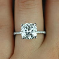 Heidi Grande Size 14kt White Gold Cushion FB Moissanite and Diamond Basket Engagement Ring (Other metals and stone options available)