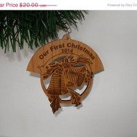 Christmas in July Sale Personalized engraved Two bells alder  wood Christmas ornament two sided