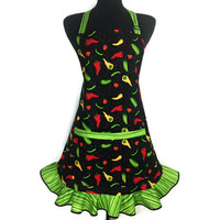 Chili Pepper Apron , Retro Kitchen Decor , Adjustable with Pocket and Ruffle , Jalapeño and Habanero