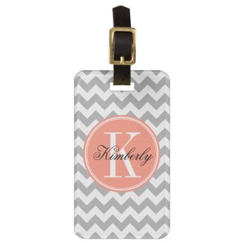 Gray Chevron with Coral Monogram