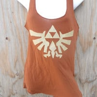 Brown Legend of Zelda Triforce Eagle Racerback Tank