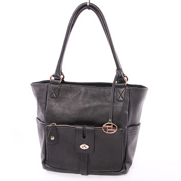 Ivy Leather Tote Bag in Black