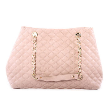 Taylor Oversized Quilted Leather Tote Bag in Beige