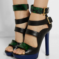 Alexander McQueen | Embellished leather platform sandals | NET-A-PORTER.COM